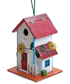 Hand Painted Wooden Birdhouse With Flowers Outdoor Garden Decor By Bo Toys