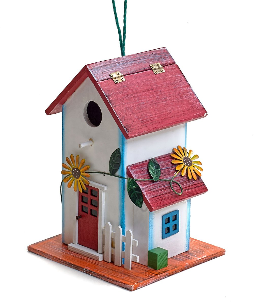 Hand-painted Wooden Birdhouse with Flowers Outdoor Garden Decor by Bo Toys by Bo-Toys