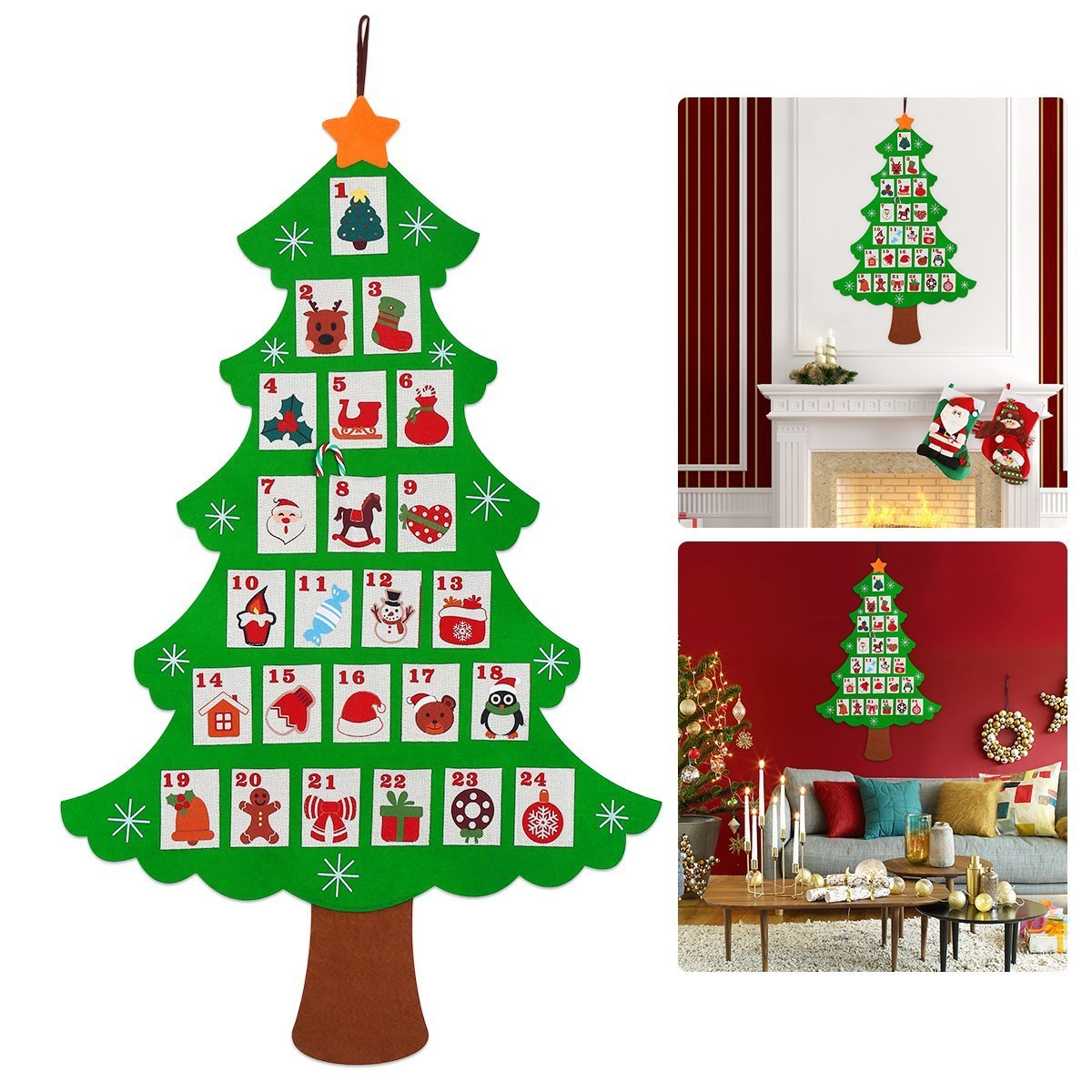NICEXMAS calendario dell' avvento conto alla rovescia per Natale, 64cm by 89cm