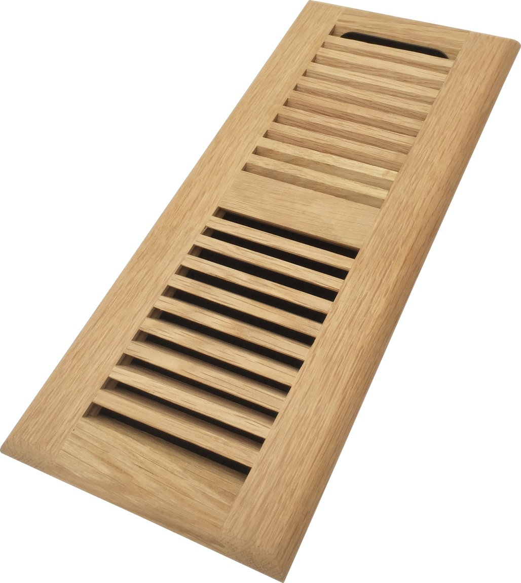 Homewell Red Oak Wood Floor Register, Drop in Vent with Damper, 4x12 Inch, Unfinished