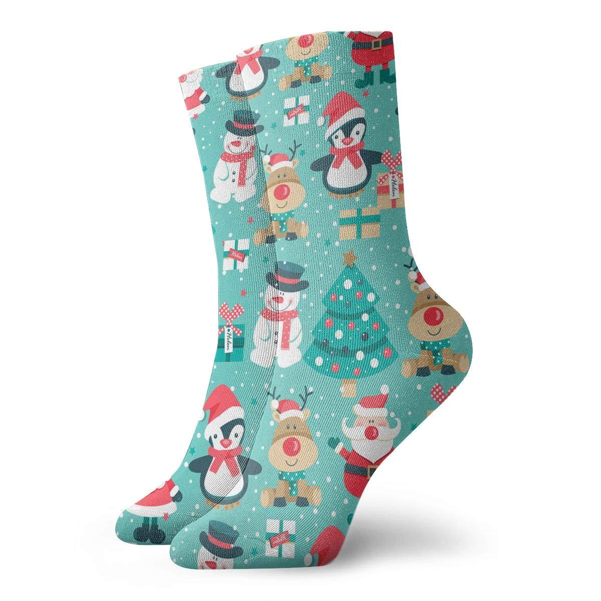 Women Men Santa Claus Snowman Pattern Cushion Ankle Socks