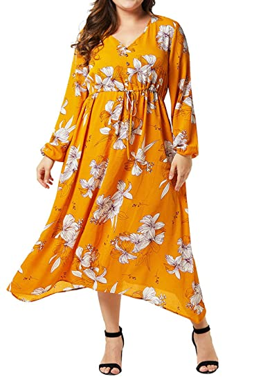 Roseinthebox Yellow Plus Size Maxi Dress Floral Print V Neck Long ...
