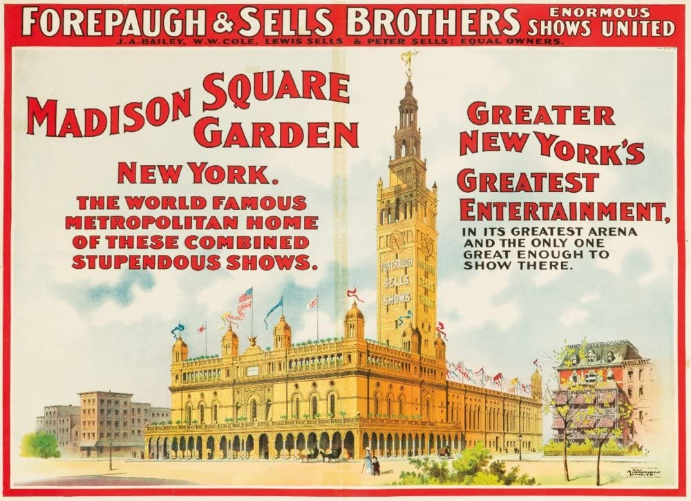 Forepaugh and Sells Brothers - Madison Square Garden Vintage Poster USA c. 1900 (9x12 Art Print, Wall Decor Travel Poster)
