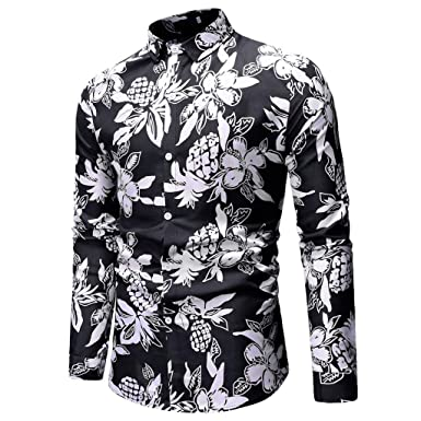 02be4b0fbf2c MISYAA Shirts for Men, Long Sleeve Hawaiian Floral Shirt Button Down Shirt  Casual Polo Shirt