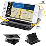 Car Dashboard Mount Holder, Audew Car Phone Holder, Universal 360 Rotating Dash Smart Stand Non-Slip GPS Holder, Silicone Dashboard Car Sticky Pad Mat for Cell Phone GPS