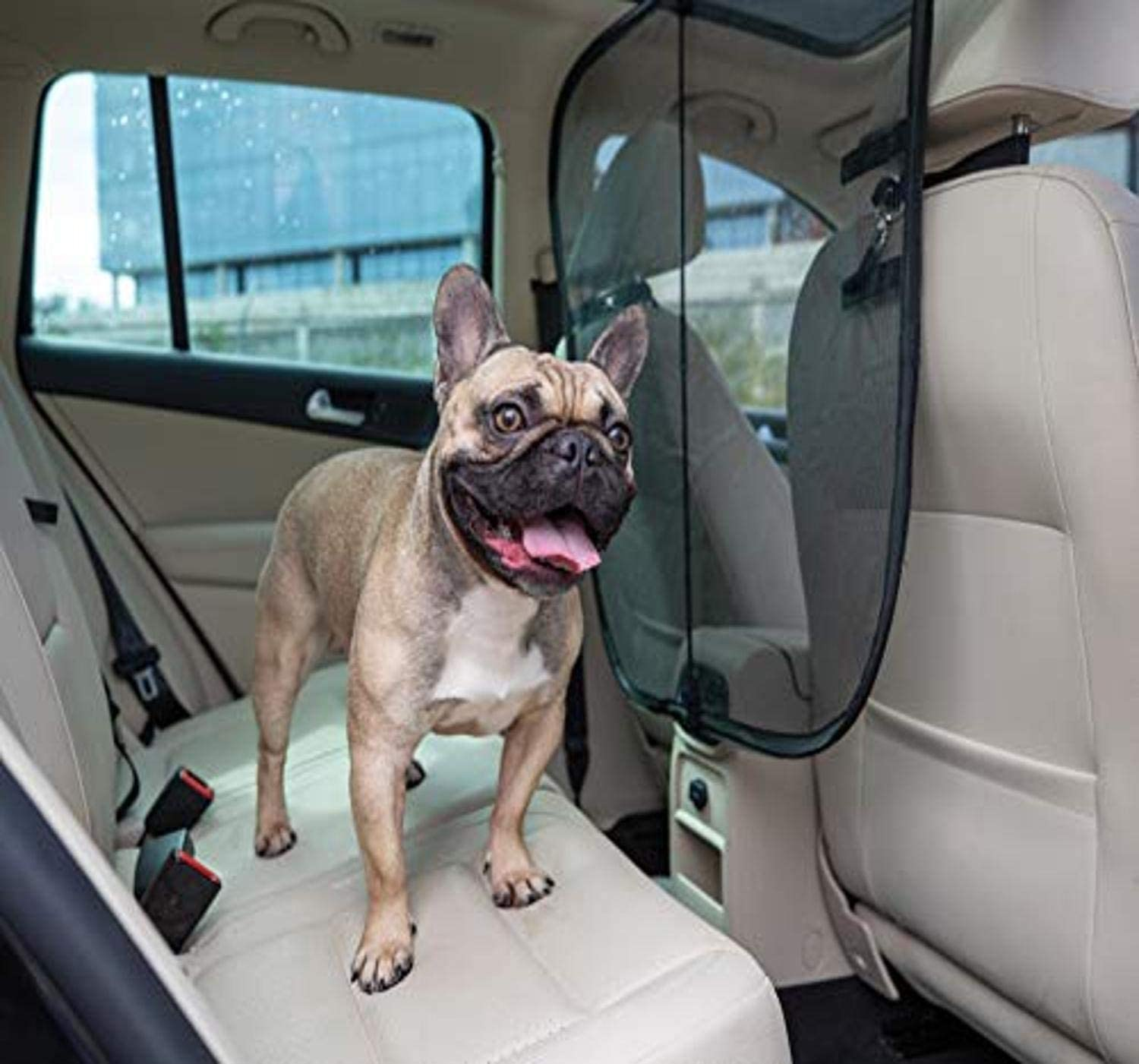 Auto Car Pet Barrier With Storage Pockets Blocks dog/'s access to front seat Dog