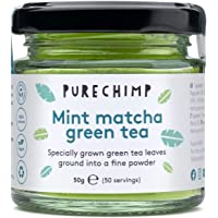 Matcha Green Tea Powder 50g(1.75oz) by PureChimp | Ceremonial Grade from Japan | Pesticide-Free | Recyclable Glass Jars & Aluminium Lid (Mint)