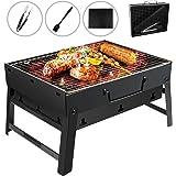 Gifort Barbecue Carbone Portatile, Barbecue Pieghevole per BBQ Barbecue e Rete Metallica BBQ in Acciaio Inox per Barbecue, Feste, Picnic, Campeggio (Nero)