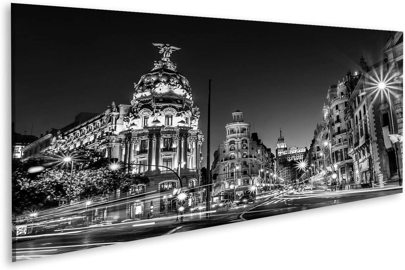 Cuadros de Salon Rayos de semáforos en la Calle Gran Vía, Principal Calle Comercial de Madrid de Noche España, Europa Cuadro Decoracion de Pared Impresión en Lienzo Formato Grande Modernos OQL-Pano-N