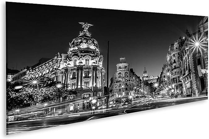 Cuadros de Salon Rayos de semáforos en la Calle Gran Vía, Principal Calle Comercial de Madrid de Noche España, Europa Cuadro Decoracion de Pared Impresión en Lienzo Formato Grande Modernos OQL-Pano-N: Amazon.es: