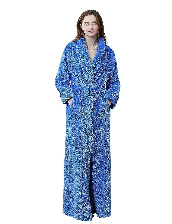 BELLOO Women Winter Fleece Dressing Gown Fluffy Bathrobe Full Long ...