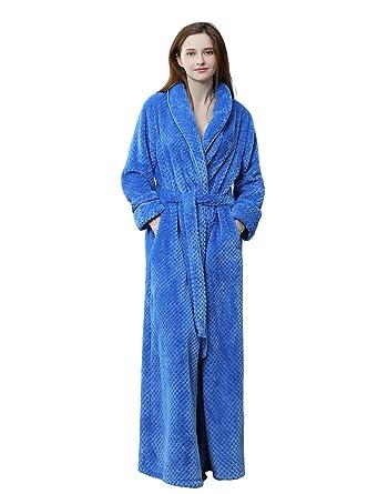 BELLOO Ladies Flannel Fleece Dressing Gown Soft Fluffy Bathrobe Full Long 5352893c9