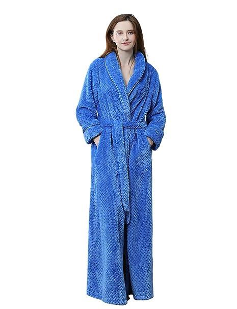49b17a4bee9 BELLOO Women Winter Fleece Dressing Gown Fluffy Bathrobe Full Long   Amazon.co.uk  Clothing