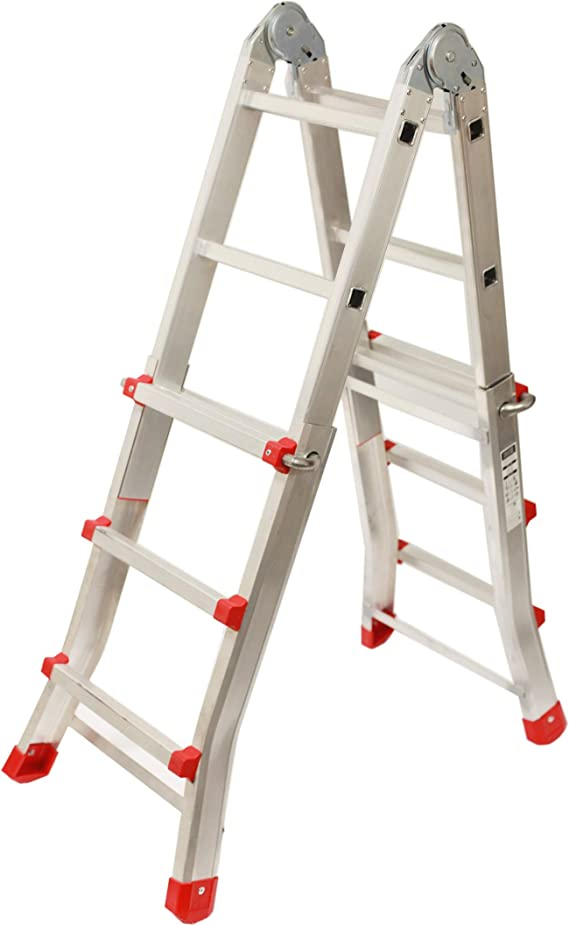Escalera Articulada Telescópica Plegable 3+2 en 2 Tramos Profesional de Aluminio. Escada Articulada Telescópica Dobrável de Alumínio (Hasta 10 Peldaños/Até 10 degraus): Amazon.es: Bricolaje y herramientas