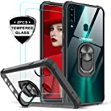 Samsung Galaxy A20S Case (Not Fit A20) with Tempered Glass Screen Protector [2 Pack], LeYi [Military Grade] Clear Crystal Shockproof Phone Case with Magnetic Ring Car Kickstand for Samsung A20S, Black