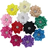 "QingHan Baby Girls 3"" Fabric Flower Hair Clips Hair Bows With Rhinestone Center Headband Flowers Pack Of 12"