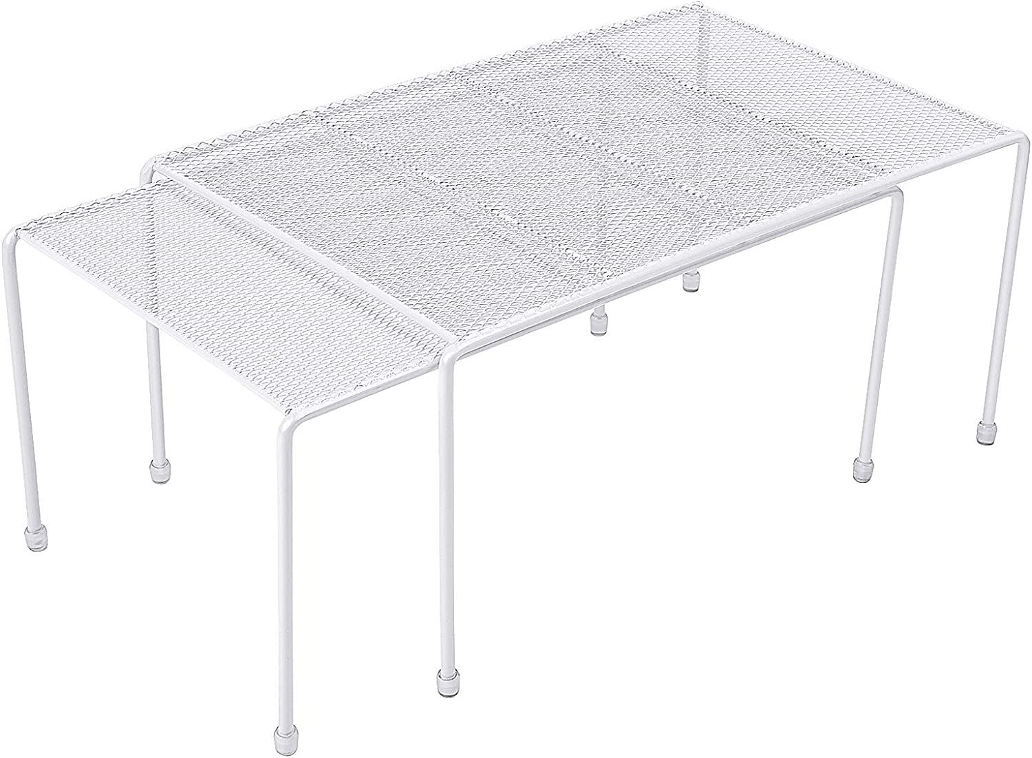 Expandable Stackable Kitchen Cabinet and Counter Shelf Organizer,Kitchen Shelves, Cabinet Organization,White