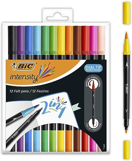 BIC Intensity Dual Tip Rotuladores y Marcadores Pincel - Varios Colores, Caja de 12 Uds.: Amazon.es: Oficina y papelería