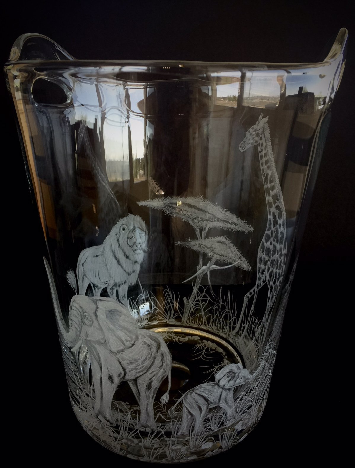 Hand Engraved Ice Bucket African Animals, Lion, Giraffe and Elephant, African Safari Scene, Engraved Bar Ware, Wedding Gifts Etched by Akoko Art Handengraved Crystal Glass (Image #2)