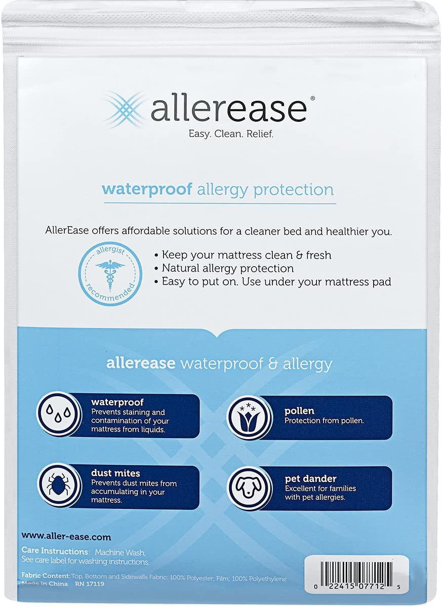 AllerEase Waterproof Allergy Protection Zippered Mattress Protector Full