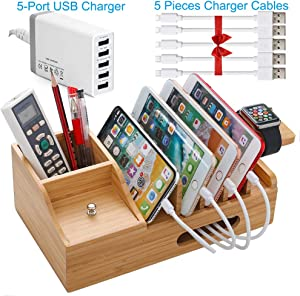 Bamboo USB Charging Stations for Multiple Devices with 5 Port USB Charger, 5 Charge Cable, Watch Stand. Wood Desk Storage Organizer Holder Compatible with iPhone, iPad, Cell Phone, Tablet, Kindle