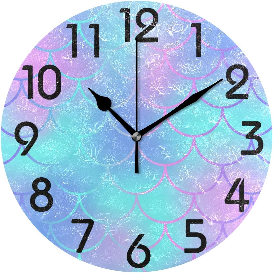 Naanle Beautiful Mermaid Tail Scale Pattern Round Wall Clock Decorative, 9.5 Inch Battery Operated Quartz Analog Quiet Desk Clock for Home,Office,School