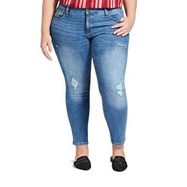 f1431a62a99a4 Universal Thread Women s Plus Size Destructed Skinny Jeans Light Wash ...