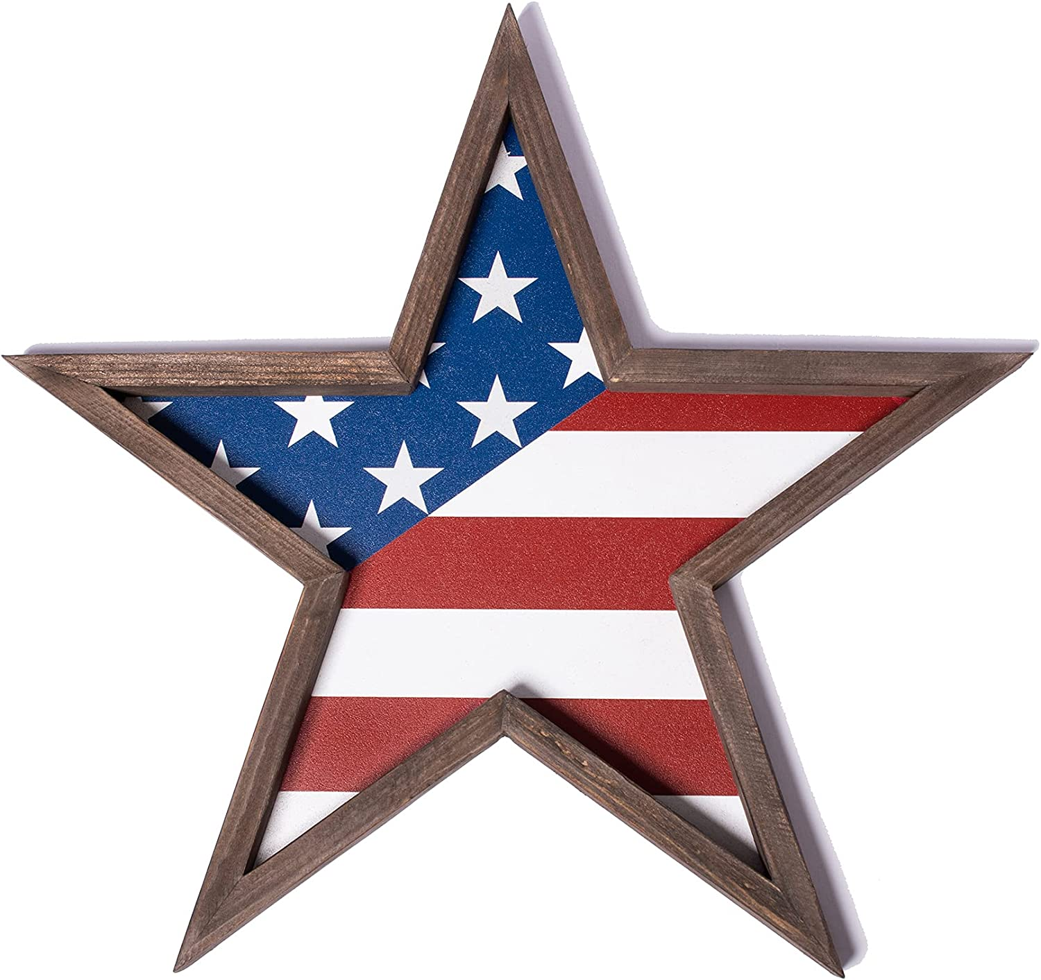 Wooden Star - American Flag for Room Decor, USA Wall Decor or Shelf Decor with US Flag, Patriotic, Rustic Wall Art with Stars, Great Gift for Home Decor, American Wooden Star Americana, Wall Hanging