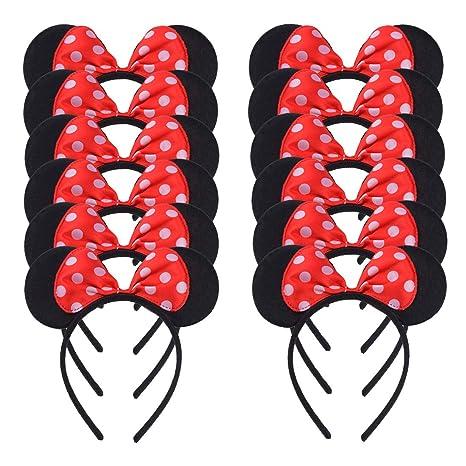 Conjunto de 12 Mickey Minnie Rojo Diademas para cumpleaños Fiestas de Halloween Mamá Niños Niñas Accesorios para el cabello Sombrero de orejas de ...