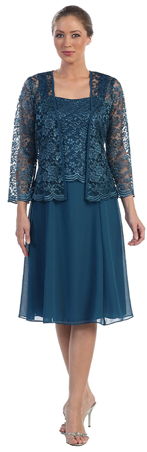 Womens Short Mother of the Bride Plus Size Formal Lace Dress with Jacket