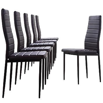 Lote de 6 sillas de comedor en piel sintética color marrón