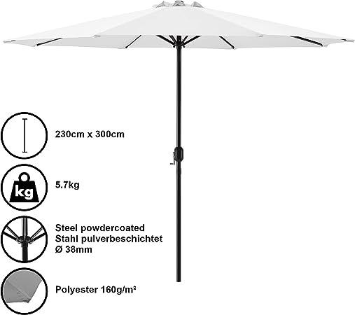 casa.pro] Sombrilla Ø 300cm [blanca] con manivela parasol para jardín, terraza, balcón patio: Amazon.es: Hogar