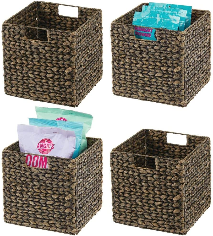 mDesign Woven Hyacinth Farmhouse Kitchen Storage Organizer Basket Bin with Handles for Kitchen Cabinets, Pantry, Bathroom, Laundry Room, Closets, Office - 4 Pack - Black Wash