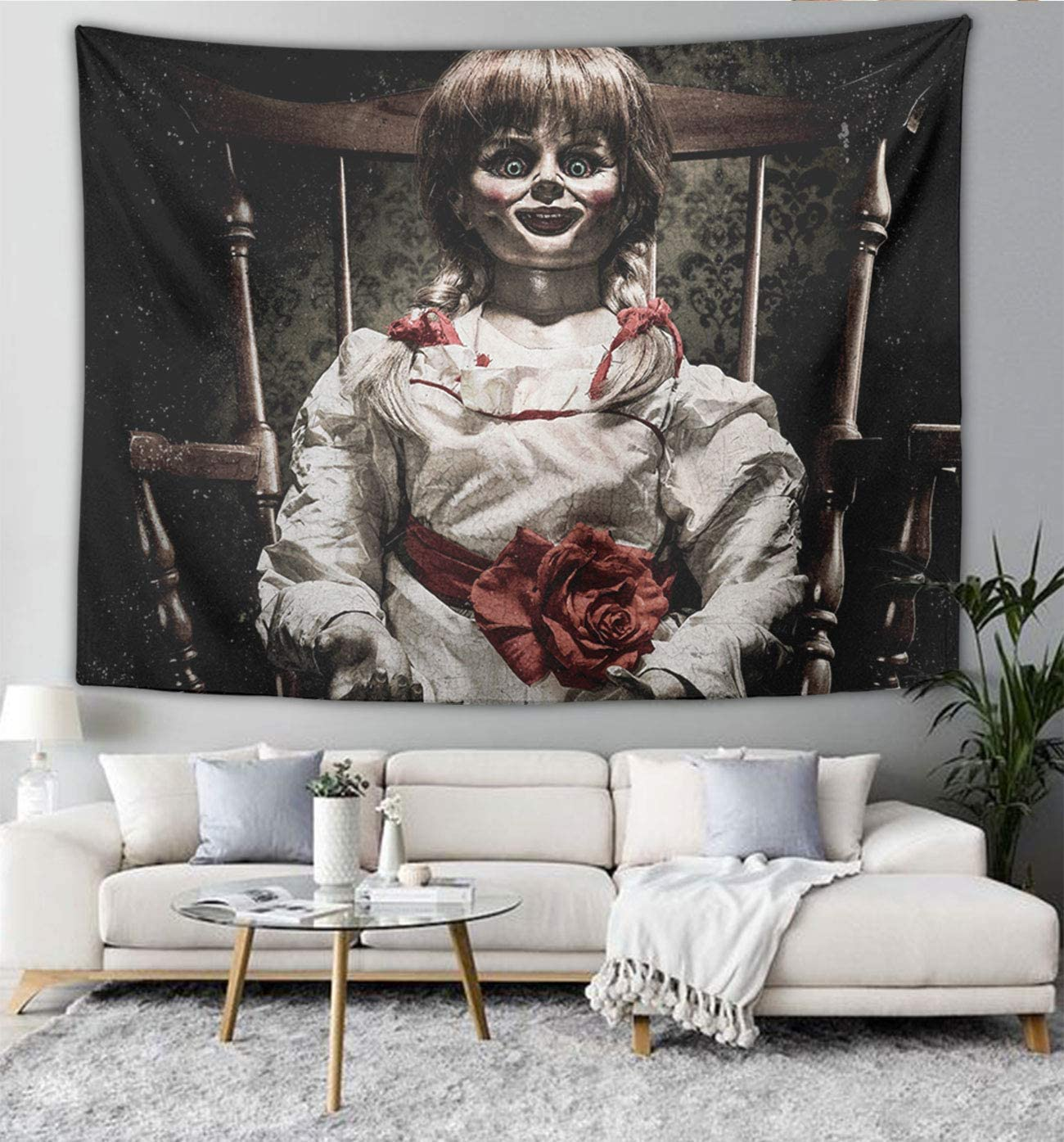 NiYoung Premium Tapestry Wall Hanging Scary Horror Girl Doll Black Wall Decor Mandala Tapestries Beach Blanket Window Curtain Picnic Mat Large Tableclothss 60 x 80 Inches