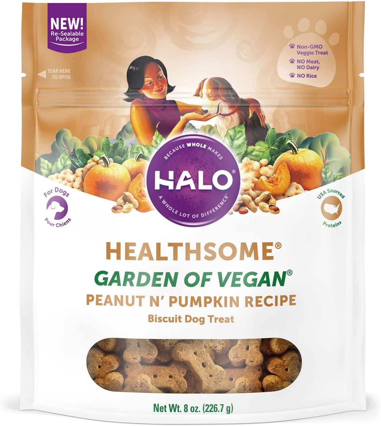 Halo Vegan Grain Free Natural Crunchy Dog Treats, Garden of Vegan Recipe, 8-Ounce Bag