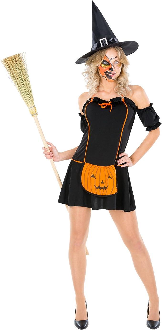 TecTake dressforfun Disfraz de Bruja Calabaza para Mujer   Vestido ...