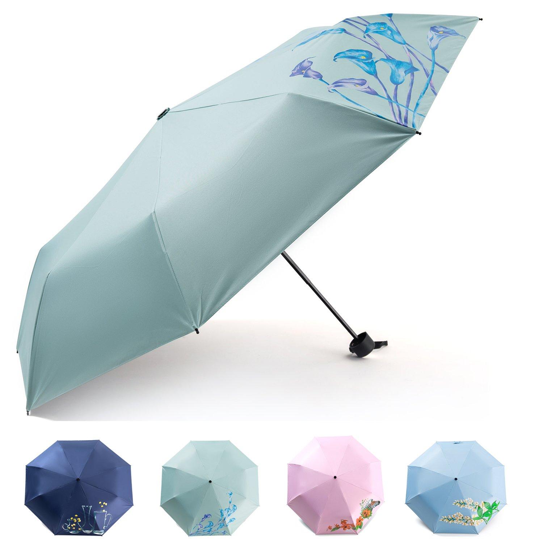 Obvie トラベルミニ傘 防風 UV折りたたみ コンパクト傘 ポータブル 軽量 太陽と雨 傘 男女兼用 B07JDTGNV7 Printing - Light Green