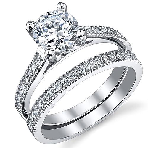 Ultimate Metals Anillo de Matrimonio - Compromiso en Plata Esterlina, Conjunto de 2 Anillos Milgrain