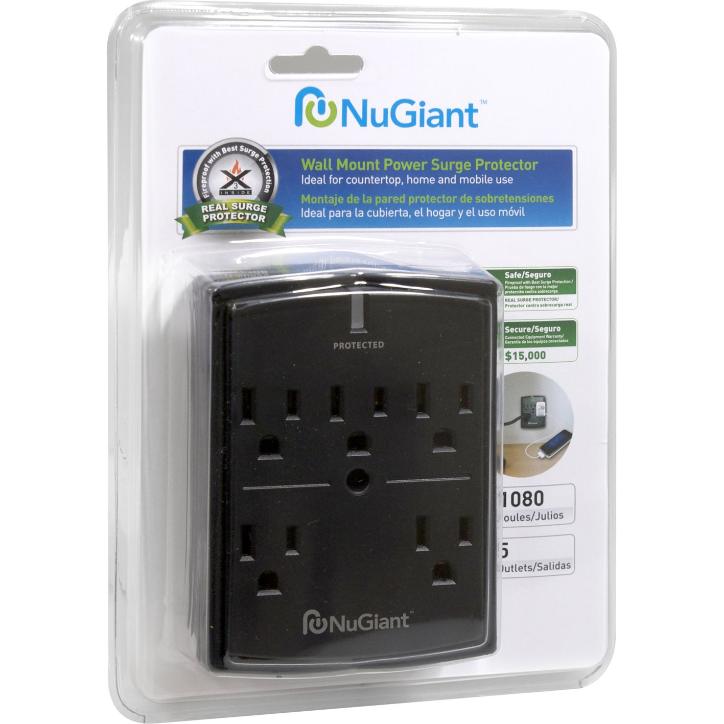 Amazon.com: NuGiant NSS15 5-Outlet Wall Mount Power Surge Protector: Home Audio & Theater