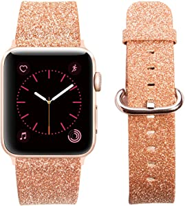 MIFFO Compatible with Apple Watch Band 38mm 40mm 42mm 44mm, Leather iWatch Strap Bling Glitter Bracelet Wristband for Apple Watch Series 6/5/4/3/2/1 SE