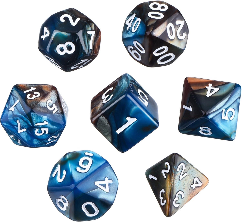 Dados Poliédricos Set de 7-Dados para Dungeons y Dragons con Bolsa Negra (Azul Marrón)
