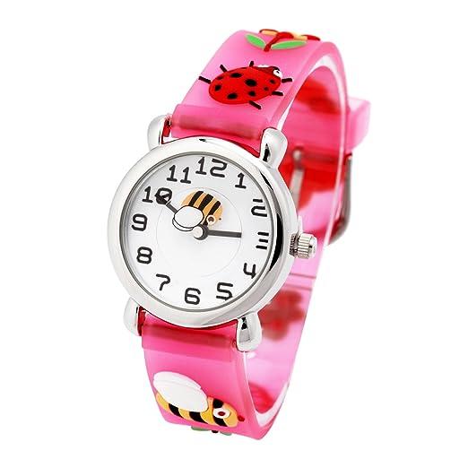 Jian ya na Lovely Cartoon niños reloj Digital, Correa de silicona redondo relojes de pulsera de cuarzo para las niñas niños kids: Amazon.es: Juguetes y ...