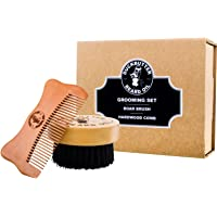 """DUCKBUTTER Grooming Set - Beard Brush & Comb Boxed Gift Set - Made from Peach Wood & Natural Boar Bristles - 1"""" Bristles & Teeth for Facial Grooming"""