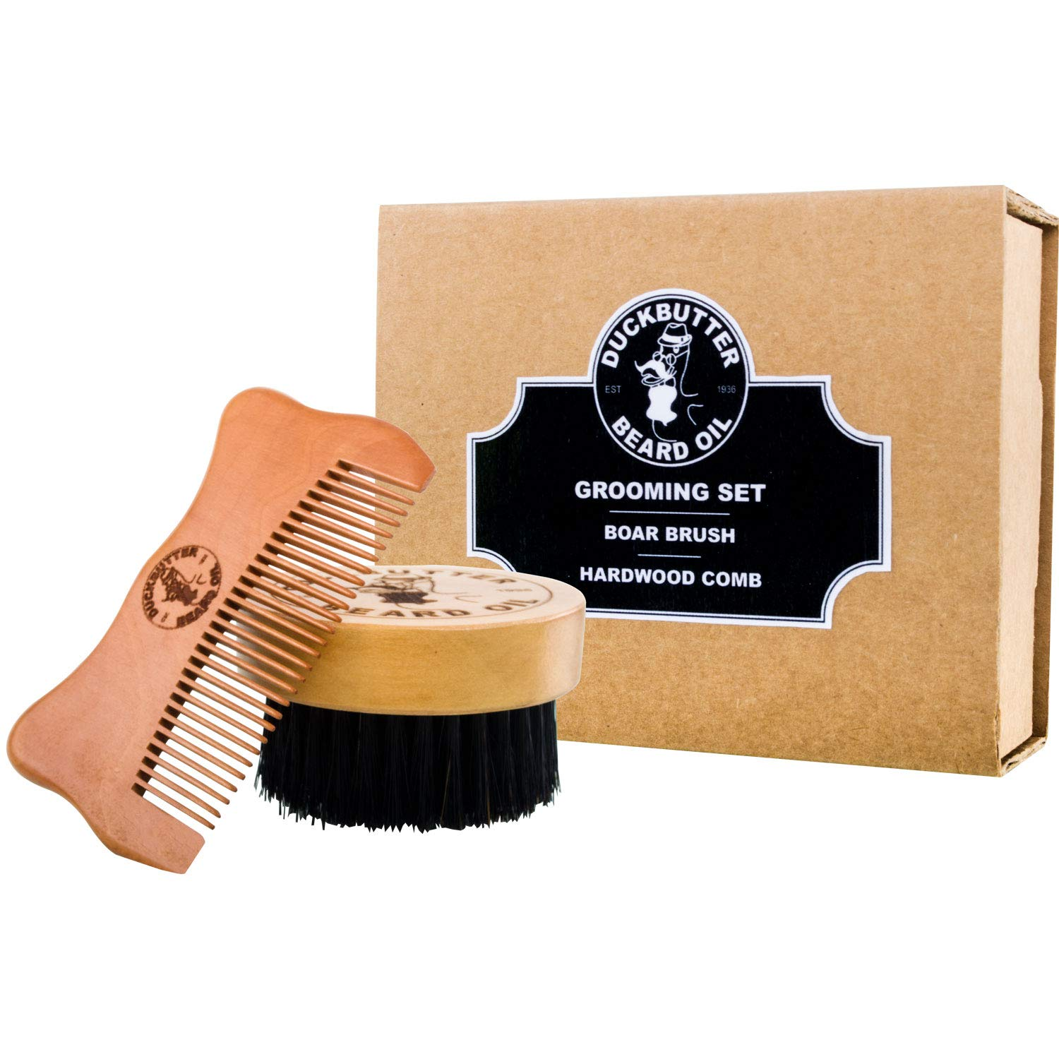 DUCKBUTTER Grooming Set - Beard Brush & Comb Boxed Gift Set - Made from 100% Genuine Peach Wood & Natural Boar Bristles – 2.25 cm Bristles & Teeth for Facial Grooming Rexx Labs RL-DB-BCS