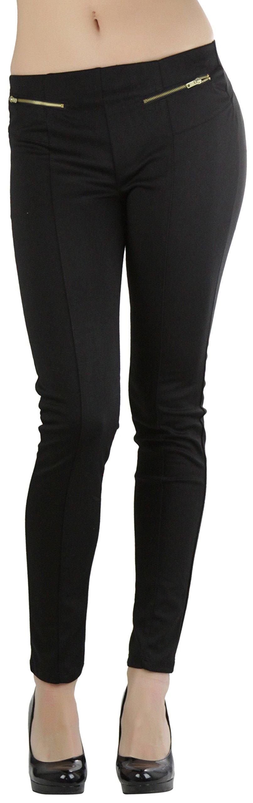 ToBeInStyle Women's Ponte Skinny Pants - Black - Small