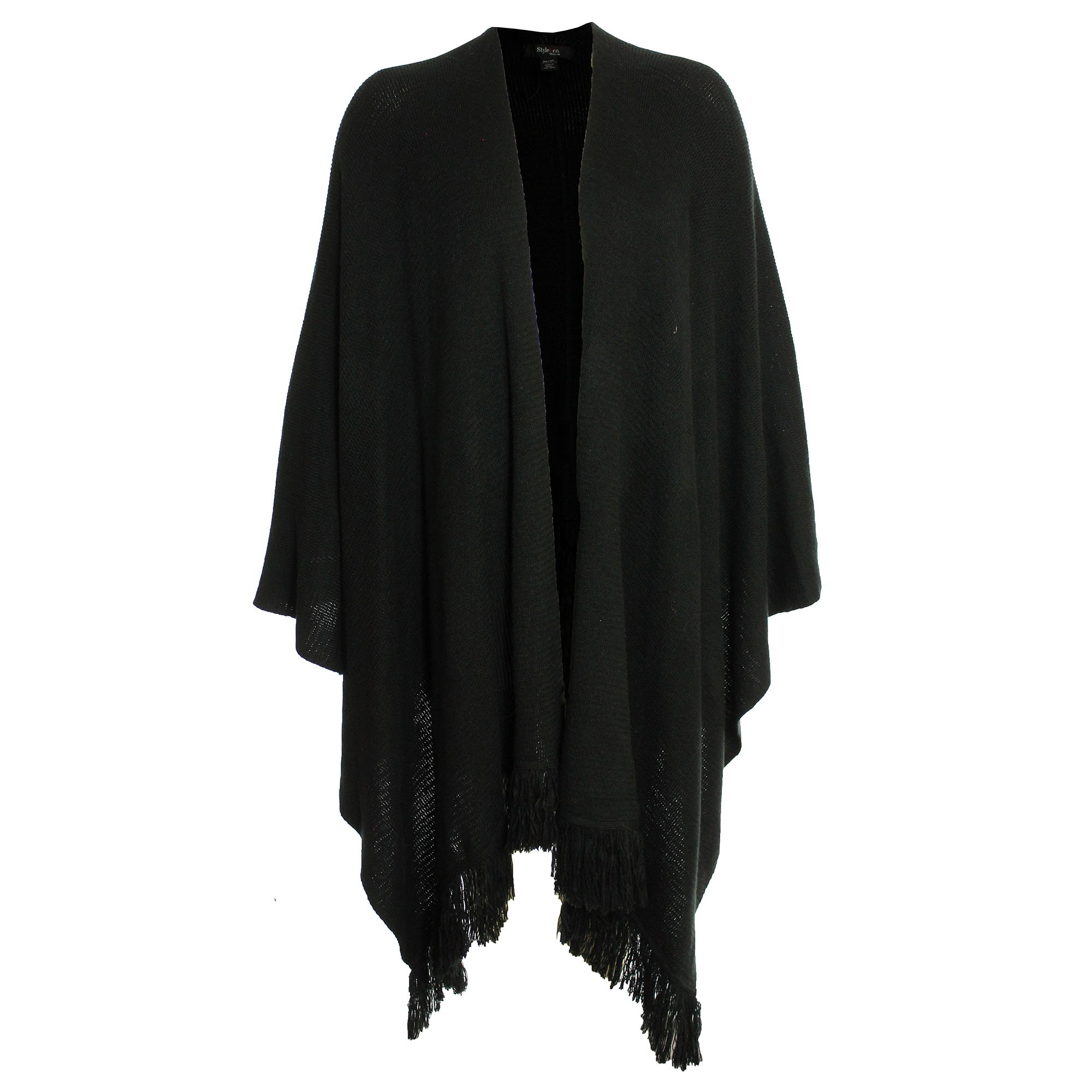 Style & Co. Womens Plus Fringed Open Front Wrap Sweater Black 2X/3X by Greendog