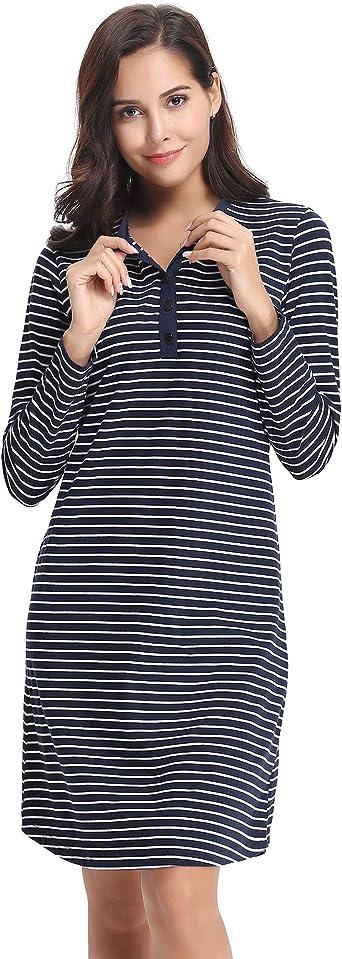Chemise de Nuit Femme 100/% Coton Manches Longues Butoun