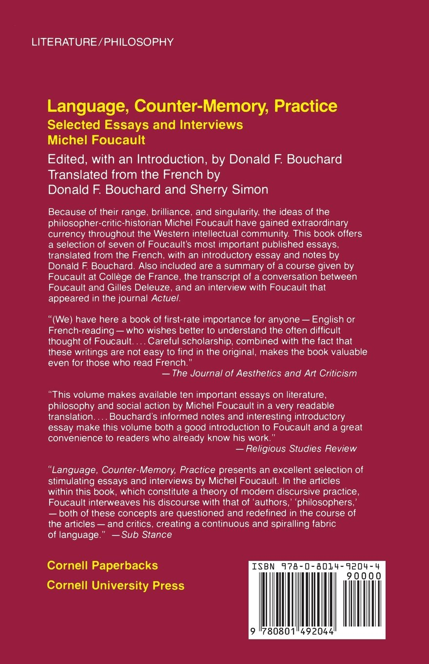 language counter memory practice selected essays and interviews language counter memory practice selected essays and interviews michel foucault donald f bouchard 9780801492044 books amazon ca