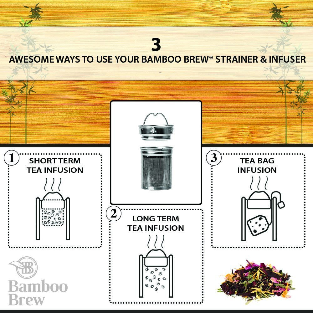 Bamboo Tumbler with Infuser & Strainer 18oz | Stainless Steel Coffee & Tea Flask | Double Wall Vacuum Insulated Travel Mug | Loose Leaf Detox Brew & Fruit Infusion Water Bottle | Ecofriendly Thermos by Bamboo Brew (Image #8)