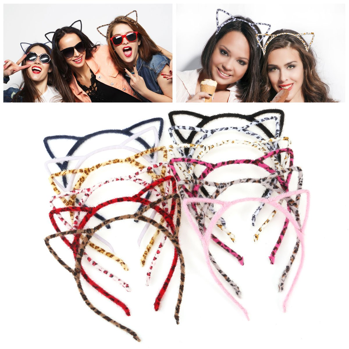 Unomor Cat Ears Hair Headband Fluffy Hair Hoop for Party and Daily Accessories, 12 Pieces with 12 Colors by Unomor (Image #1)